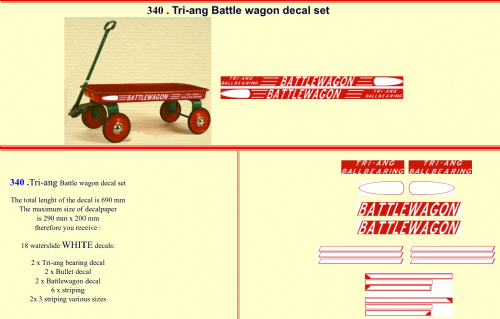 340 Tri-ang Battle wagon decal set